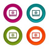 Media player icons. Video signs. Streaming symbol. Colorful web button with icon. Eps10 Vector stock illustration