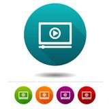 Media player icons. Video signs. Streaming symbol. Vector Circle web buttons. Eps10 Vector Royalty Free Stock Photo