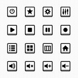 Media Player linje symboler på vit bakgrund - vektorillustration Arkivbild