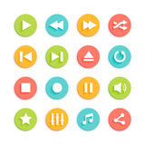 Media Player Material Design Vector Icons Set Stock Image