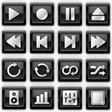 Media player metal icons. Web page Stock Images