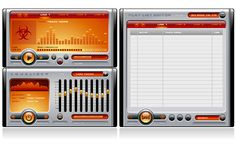 Media Player Orange Stock Photo