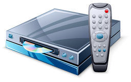 Media player and remote control stock illustration