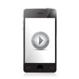 Media player on a smartphone. illustration Royalty Free Stock Images