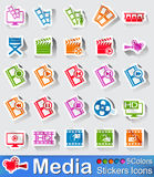 Media player stickers icon in five colours. Media player stickers icons in different colours Royalty Free Stock Photo