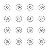 Media Player symboler uppsättning, linje symbol Royaltyfri Fotografi
