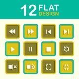 Media Player symbolsuppsättning Fotografering för Bildbyråer