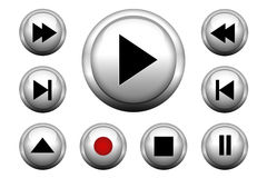 Media web buttons set Royalty Free Stock Photos