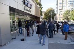 Media and police outside the cannabis-only NSLC retailer in Nova stock image