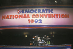 Media press platform at the 1992 Democratic National Convention at Madison Square Garden Stock Photography