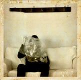 Media psichico con la foto dell'oggetto d'antiquariato del ectoplasm Fotografie Stock Libere da Diritti