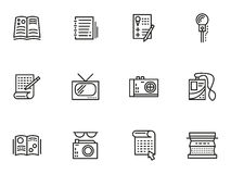 Media publishing simple line style icons Stock Images