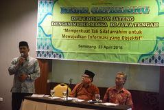 Media recueillant l'institut islamique indonésien de propagation (LDII) Image libre de droits