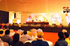 Gujarats ministers press conference at the Travel Mart in Ahmedabad City royalty free stock photos