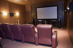 Media room. Or home theater with big screen stock photo