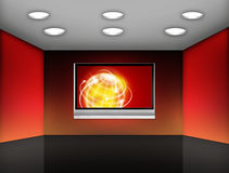 Media room. Room with plasma television on the wall Royalty Free Stock Photos