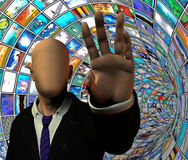 Media Security. Media Tunnel and anonymous figure Stock Image