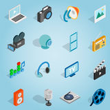 Media set icons, isometric 3d style Stock Photo