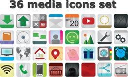 36 media set icons vecto Royalty Free Stock Photography