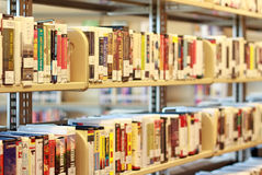 Media Shelf in Library Stock Image