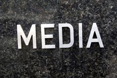 Media sign. Media industry sign. Mass communication industry. print media e. g newspapers, books, pamphlet, or comics Broadcast industry as radio, recorded music royalty free stock photo