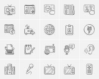 Media sketch icon set. Royalty Free Stock Photo