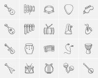 Media sketch icon set. Royalty Free Stock Image
