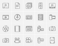 Media sketch icon set. Media sketch icon set for web, mobile and infographics. Hand drawn media icon set. Media vector icon set. Media icon set  on white Royalty Free Stock Photos
