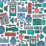 Media sketch icons seamless pattern Stock Photos