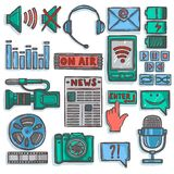 Media sketch icons set color Stock Image