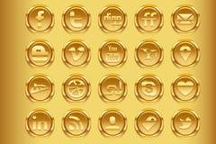 Media sociais dourados v1 Imagem de Stock