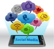 Media sociais em Smartphone Fotos de Stock