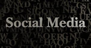 Media social - 3D a rendu l'illustration composée métallique de titre illustration de vecteur