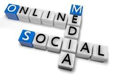 Media social en ligne de mots croisé illustration stock