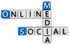 Media social en ligne de mots croisé Photos stock