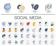 Media social et icônes isométriques de réseau vecteur 3d illustration stock