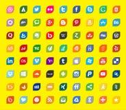 Media social et icônes plates de couleur de réseau Images libres de droits