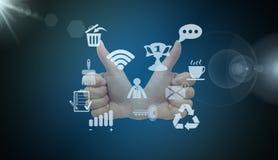 Media social, icône, signe, la meilleure 3D illustration, la meilleure animation illustration stock