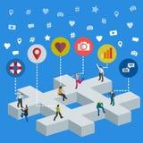 Media social lançant le concept sur le marché 3d isométrique Bannière sociale de Web de media Personnes isométriques dessus par illustration stock