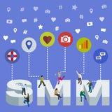 Media social lançant le concept sur le marché 3d isométrique Personnes isométriques Bannière sociale de Web de media illustration de vecteur