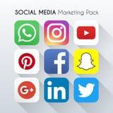 Media social lançant le paquet sur le marché Belle conception de couleur pour le site Web, calibre, bannière illustration libre de droits