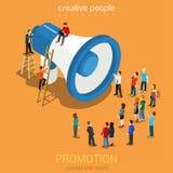 Media social lançant le Web sur le marché 3d plat de promotion en ligne isométrique illustration libre de droits