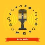 Media social lançant sur le marché, studio d'enregistrement de podcasts Photographie stock libre de droits