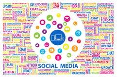 Media social pour lancer le concept sur le marché en ligne Images libres de droits