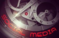 Media social sur le mécanisme de montre-bracelet de vintage 3d illustration stock
