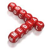 Media sociales como texto en bloques rojos Fotografía de archivo
