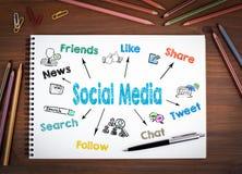 Media sociales Cuadernos, pluma y lápices coloreados en una tabla de madera foto de archivo libre de regalías