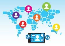 Media sociales y teléfono celular ilustración del vector