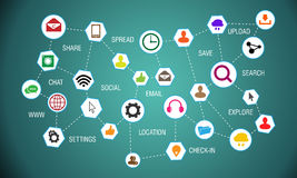 Media sociali che collegano le icone del mondo Immagine Stock