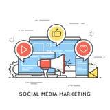 Media sociali che commercializzano, SMM, comunicazione della rete, adv di Internet illustrazione vettoriale